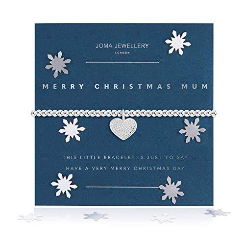 Joma Jewellery Snow Globe A Little Merry Christmas Mum Silver Bracelet | 17.5cm Stretch