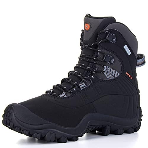 Manfen Men's Thermator Mid-Rise Waterproof Hiking Boots Trekking Outdoor Boots, Black, 10.5