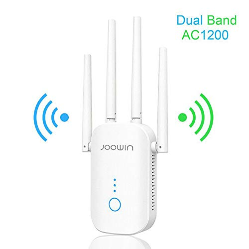 WiFi Extender, JOOWIN 1200mbps WiFi Range Extender 2.4 & 5.8GHz Dual Band WiFi Repeater Wireless Signal Booster with External Antennas Extends Easy Set up