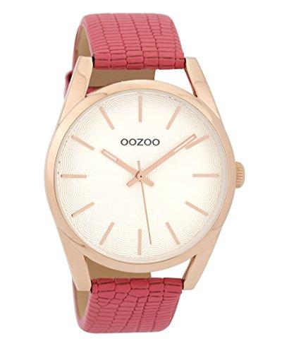 Oozoo C9584 - Reloj de pulsera para mujer con correa de cuero (42 mm), diseño de piel de serpiente, color rosa, blanco y rosa