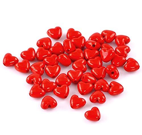 Sadingo 200 perline a forma di cuore in acrilico da infilare per bracciali, perline di plastica, perline di plastica, colore rosso