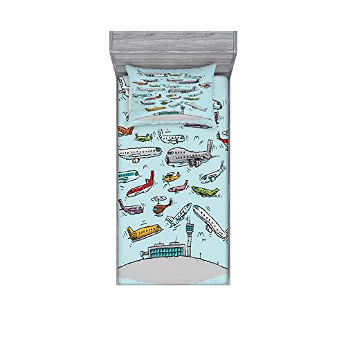 Ambesonne Juego de sábanas y fundas de almohada, diseño de avión, aviones que fying in air Aviation Love Airport, helicópteros y jets, estampado decorativo impreso de 2 piezas, Twinxl, verde azulado