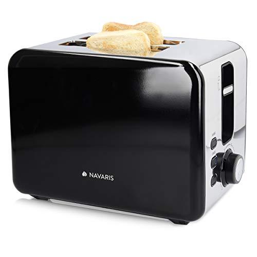 Navaris Edelstahl Doppelschlitz Toaster - 2 extragroße Toast Schlitze - 6 Stufen - automatische Brotzentrierung - 1000W - Glossy Metallic Silber