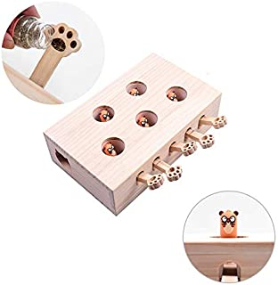 Jnwayb Cat Interactive Toys, Whack a Mole Mouse Exercise Toy, Solid Wood Puzzle Box