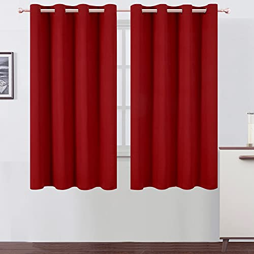LEMOMO Red Blackout Curtains/52 x 63 Inch/Set of 2 Panels Room Darkening Curtains Thermal Insulated Living Room Curtains