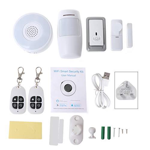 Naotai - Sistema de alarma para tu hogar (1 set de sistema inteligente de seguridad WiFi para puerta de entrada, sensor de ventanas, detector PIR, sistema de seguridad para el hogar para Alexa Google)