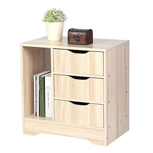 Comodino con 3 cassetti, comodino, stile moderno, lucido, 49 x 30 x 49 cm, colore: beige