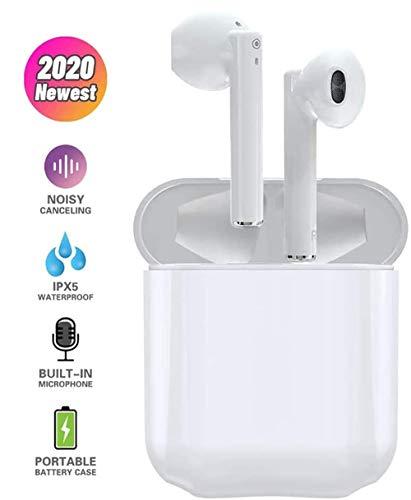 Auricular Bluetooth 5.0, Auricular inalámbrico, Mini TWS Sin Cable Cascos In-Ear con Micrófonos Dual, Audífonos Deportivos con Caja de Carga 25 hrs, compatibles con TV, Smartphone, Tablets -Blanco
