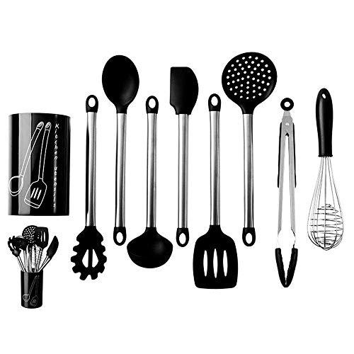 Kookgerei Set Keukenwerktuig Set zilver en zwart kookgerei met RVS Gold Houder van het Werktuig 9pcs koken Spatel Turner (Kleur: Multi-gekleurde, Maat: Een maat) 8bayfa