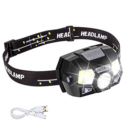 Headlamp Flashlight Rechargeable with USB,Motion Sensor Ultra Bright 600 Lumen LED+COB Work Headlight Use Time Up to 15H,5 Bright Modes,Waterproof Head Lamp for Running,Camping,Fishing,Hunting