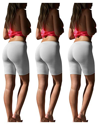 Sexy Basics Womens 3 Pack Buttery Soft Brushed Active Stretch Yoga Bike Short Boxer Briefs - white - XXL