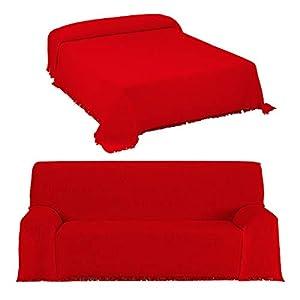 DHestia - Colcha Multiusos de Cama y Funda Cubre Sofá con Flecos Modelo Canalé. (220x260 cm, Rojo)