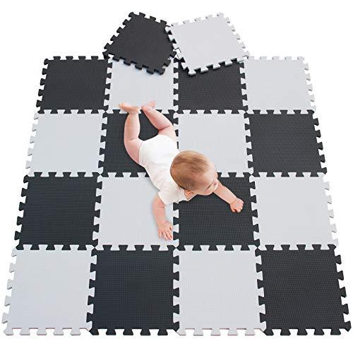 meiqicool Alfombra Puzzle para Niños Bebe Infantil, esteras de 30x30 cm, 18 Piezas en Espuma EVA años Alfombra puzle Goma Espuma Blanco Negro 0104