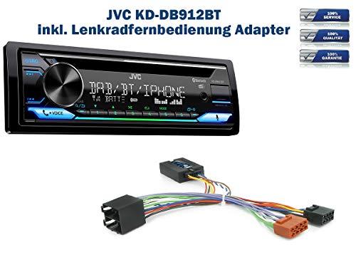 Autoradio JVC KD-DB912BT (DAB+) geeignet für Citroen C2 | C3| C5 | C8 inkl. Lenkrad Fernbedienung Adapter