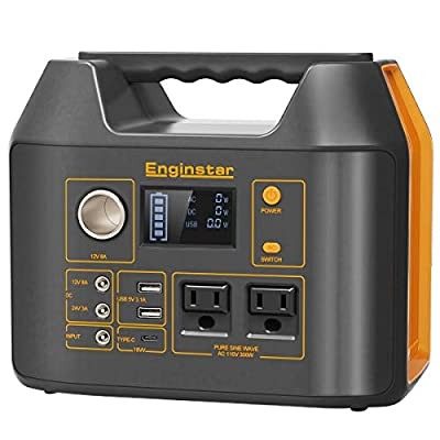 Enginstar Portable Power Station 298Wh, Backup Camping Lithium Battery Pack, 110V/300W Outdoors Solar Generator (Solar Panel Not Included) for Laptops Cellphones Drones and More Electronics