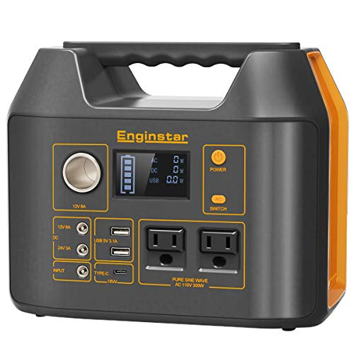 Enginstar 300Watt Portable Power Bank with AC Outlet for Outdoors Camping Travel Hunting Emergency 80000mAh Power Supply for CPAP Machine, 2 AC Ports, 3 USB Ports, 3 DC Ports