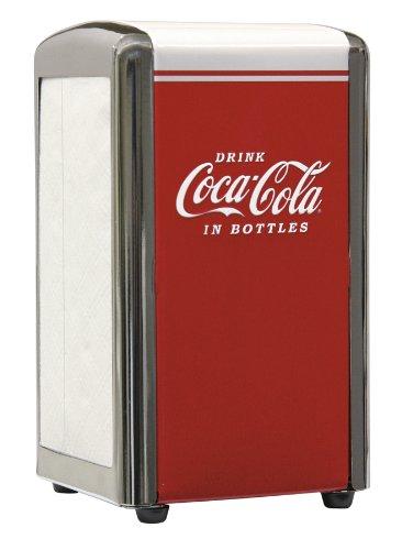 TableCraft Coca-Cola CC339N Juego de salero y pimentero con estante de metal cromado, Dispensador de servilletas para bebidas Coca-Cola, Rojo, Pequeño, 1