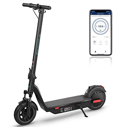 Macwheel MAX Electric Scooter, Up to 30 Miles Riding Range, 500W Brushless Hub Motor, Max 18.6 mph, Front Suspension, APP Control, 10'' Electric Scooter for Adults