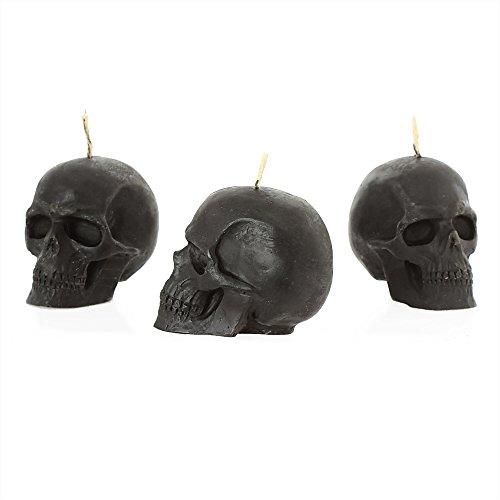 nklaus 3x Cera de abejas Calavera Rojo Vela Gothik Calavera Halloween Ritual Vela negro