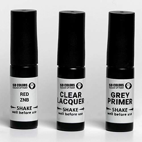 SD COLORS Fervent Red ZNB Ausbesserungslack, 5 ml, praktischer Pinsel zur Reparatur von Kratzern (Farbe + Grundierung + Lack)