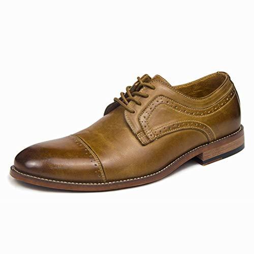 Best-choise Zapatos de vestir de negocios Oxford con cordones Zapatos de tacón de bloque de cuero genuino Tapa bruñida Punta de los pies Patentes antideslizantes Cordones de zapatos cerosos Vintage Ll