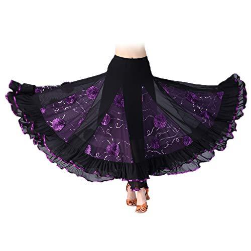 Falda de Flamenco para Mujer - Púrpura, como se describe