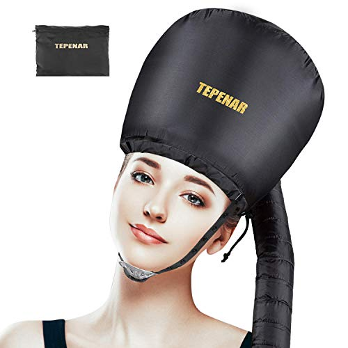 TEPENAR Bonnet Hair Dryer Attachment, Upgraded Soft Adjustable Large Hair Drying Bonnet for Hand Held Hair Dryer, Easy to Use for Natural Curly Textured Hair Care and Speeds Up Drying Time at Home