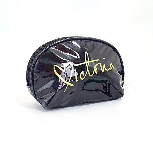 PoplarSun Maquillage Sac Voyage Femmes Mignon Make Up Sacs Lettre Zipper PVC Mode Femmes Voyage Organisateur Sacs cosmétiques (Color : Black)