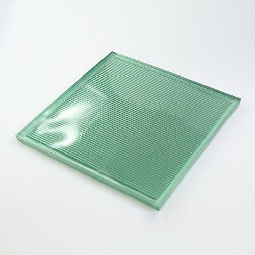 10 Glasfliesen, Fliesen aus Glas passend zu Glasbausteinen - Grün Metallic 19x19 cm