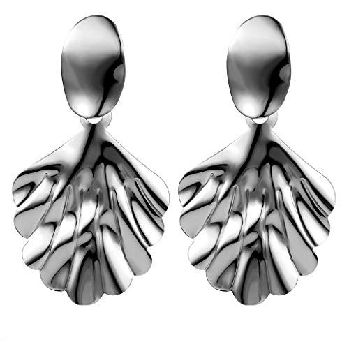 Minshao - Pendientes de metal para mujer, diseño de hojas simples