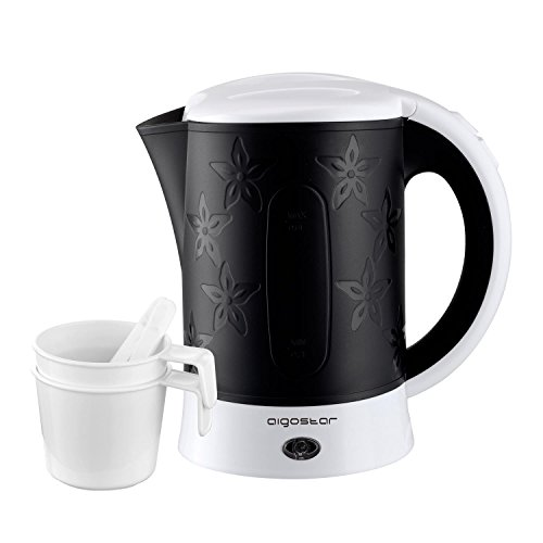 Aigostar Cooltravel 30MBA - Travel Electric Kettle, 650W, 0.6L Mini Water Pot, Auto Shut Off with Boil-Dry Protection, BPA Free, Includes 2 Cups and 2 Spoons, Black.