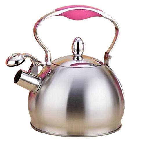 MagiDeal Inducción de La Estufa de La Tetera del Café de La Tetera del Té del Silbido del Acero Inoxidable - Rosado, Individual