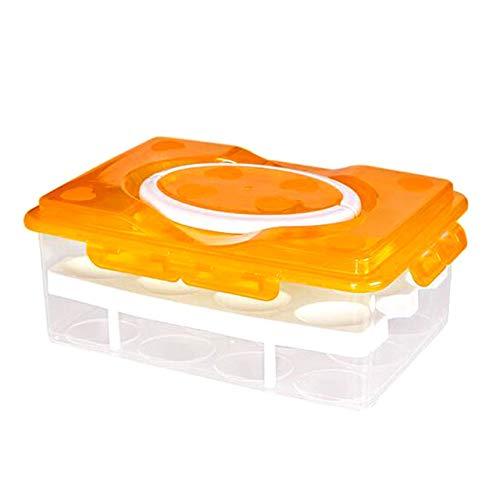 XWJRPA Caja de almacenaje,Portátil 2 Capas 24 Agujeros Nevera Transparente Caja de Huevos Caja de Almacenamiento de Huevos Caja Fresca Estante para Huevos, Amarillo