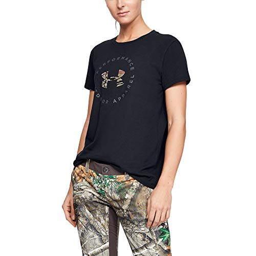 Under Armour Camo Fill T-Shirt Manga Corta, Negro (001)/Gris Pitch, Extra-Small para Mujer