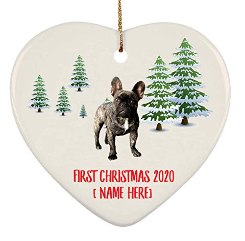 Personalized French Bulldog Brindle Ornaments First Christmas 2020 Tree On Winter Landscape Ceramic Heart