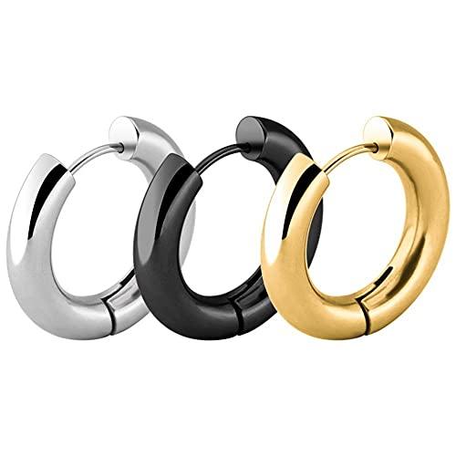 KXLB Kxlbhjxb Negro/Oro de Rosa/Tono Plata Pendientes de aro de Acero Inoxidable Pendientes de aro Hombres y Mujeres Joyería de Cuerpo exagerado (Main Stone Color : Silver, Metal Color : 2.5mm 12mm)