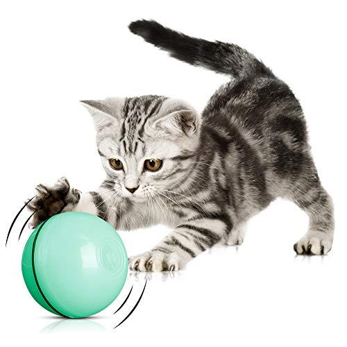 Katzenspielzeug Ball mit LED-Licht,Wiederaufladbares interaktives USB-Katzenspielzeug,Elektrisch 360° Selbstdrehender Ball, Stimulierung Jagdtriebs Lustiges Jäger Spielzeug Katzenball