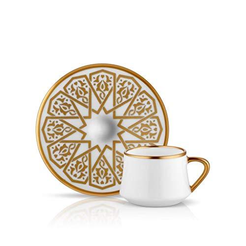 Koleksiyon Dervish 6-delige theeset met handvat, 12-delig, glazen kopje, schaakbord porseleinen kopje, speciaal gemaakt, Ma