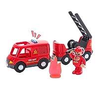 HANDON 磁気機関車列車のおもちゃ、消防車の列車のおもちゃの車、列車のおもちゃキット-主にすべての年齢の子供のための木製の線路と互換性のある機関車の列車、トランク、消防士が含まれています compatible