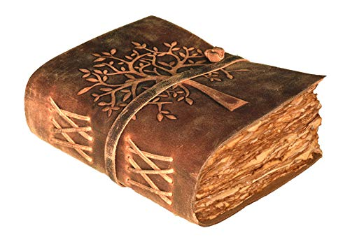 Vintage Leather Journal Tree of Life - Leather Bound Journal - Vintage Deckle Edge Paper - Sketchbook - Journal for Women Men - Book of Shadows - 8 X 6 Inches (Cappuccino Brown) by Leather Village