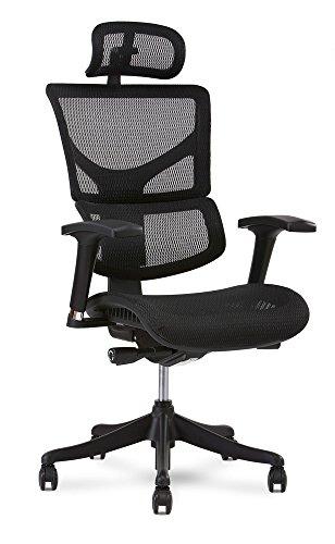 X Chair X1 Task Chair, Black Flex Mesh with Headrest