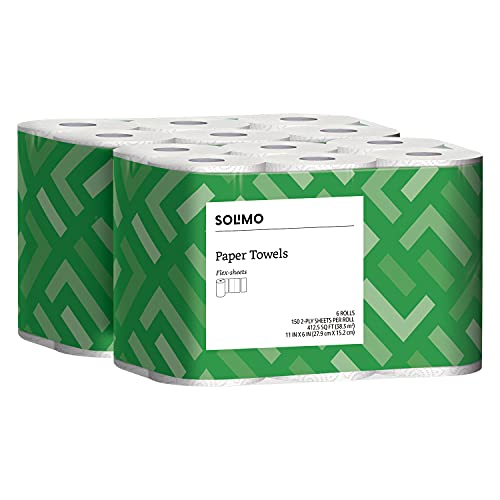 Amazon Brand - Solimo Basic Flex-Sheets Paper Towels, 6 Value Rolls, White, 148 Sheets per Roll