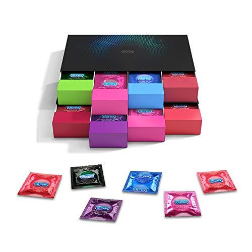 Durex Kondom Geschenkset in stylischen Boxen - Aufregende Vielfalt, praktisch & diskret verpackt - Verhütung, die Spaß macht - 70er Großpackung, 500 g
