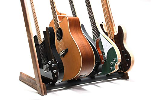Ruach GR-2 Customisable 5 Way Multi Guitar Rack and Holder for Guitars and Cases - Walnut