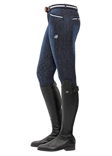 SPOOKS Reithose für Damen Mädchen Kinder, Knee-Grip-Besatz Reithosen Leggings Turnierreithose - Lucy Knee Grip Jeans - Denim L