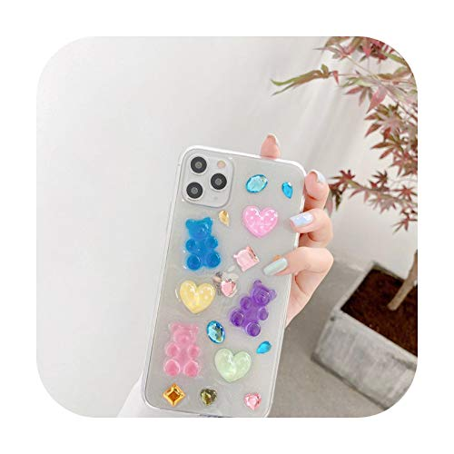 Corazón de cristal de oso 3D para iPhone X XR XS MAX 7 8 Plus 11 11Pro para Huawei P30 P40 Mate 20 30 Pro + nova 5 6 7 funda de teléfono H14-A3-Bear Heart-para Huawei Mate30Pro