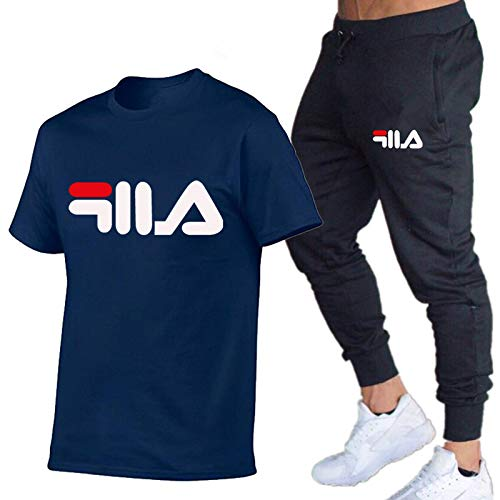 DREAMING-Spring And Summer Men's Short Sleeve Legged Pants Slim Casual Letter Printing Thin T-shirt Top + Sports Pants Two Piece Suit Small
