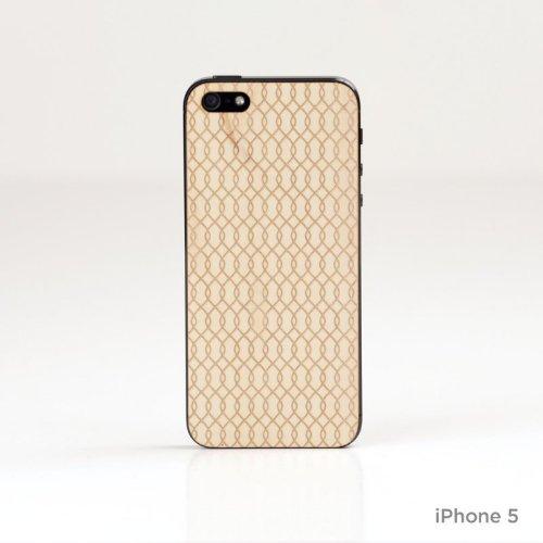 Lazerwood Waves 25700 - Cover in Legno per Apple iPhone 5/5S, Inclusa Pellicola Protettiva per Lo Schermo, Colore: Acero