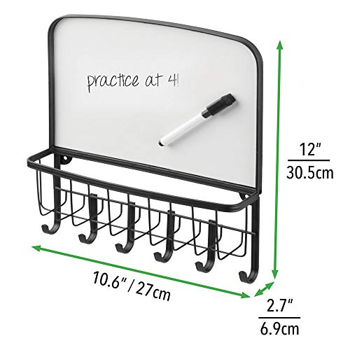 mDesign Metal Wall Mount Entryway Storage Organizer Mail Basket with Dry Erase Board, 6 Hooks - Holder for Letters, Magazines, Keys, Coats, Leashes - Strong Steel Wire Design - Matte Black