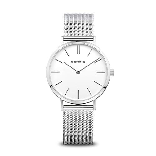 BERING Damen Analog Quarz Classic Collection Armbanduhr mit Edelstahl Armband und Saphirglas 14134-004
